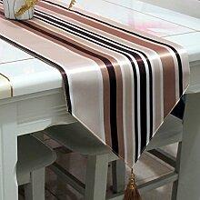Boutique,silk,gepolsterte tischläufer/bett-runner/tee tischläufer/brown,gestreift,tischläufer-A 33x260cm(13x102inch)