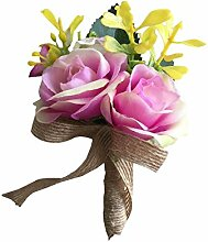 Boutonniere Groom Mann Knopflöcher Silk Rose Brosche Hochzeit Blumen Zubehör Pin Ball Party Anzug Dekoration viole