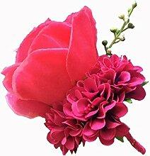 Boutonniere Knopflöcher Groom Groomsman Best Man Rose Hochzeit Blumen Zubehör Ball Party Anzug Dekoration rosaro