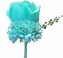 Boutonniere Knopflöcher Groom Groomsman Best Man Rose Hochzeit Blumen Zubehör Ball Party Anzug Dekoration tiffany blue