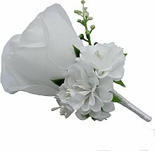 Boutonniere Knopflöcher Groom Groomsman Best Man Rose Hochzeit Blumen Zubehör Ball Party Anzug Dekoration weiß