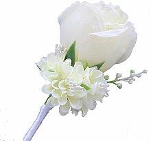 Boutonniere Knopflöcher Groom Groomsman Best Man Rose Hochzeit Blumen Zubehör Ball Party Anzug Dekoration elfenbeinfarben