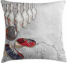 Bowling Party Decorations Throw Pillow Cushion