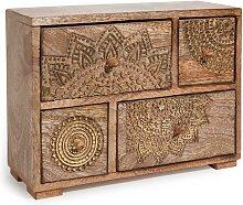 Box mit 4 Schubladen aus Mangoholz mit