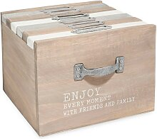 Box mit 6 Fotoalben aus Kiefernholz 10x15