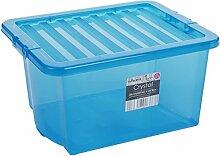 Box mit Deckel, blau-transparent, 35 Liter,