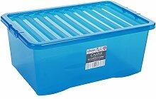 Box mit Deckel, blau-transparent, 45L,
