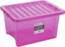 Box mit Deckel, pink-transparent, 35 Liter,