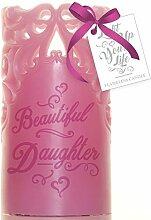 Boxer Gifts Tochter Wachs Flammenlose Kerze, pink