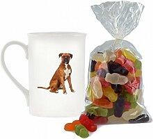 Boxer Hund Bild Design Porzellan Keramik Becher mit Jelly Babies