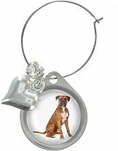 Boxer Hund Bild Design Weinglas Anhänger mit schicker Perlen