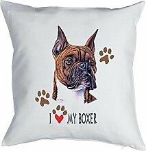Boxer Hund - Kissen mit Innenkissen - Geschenk Hundefreund Hundebesitzer - Hunde Motiv I love my Boxer - Deko u Nutzkissen 40x40cm weiß : )