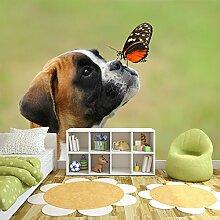 Boxer Welpenhund Wandbild Schmetterling Foto-Tapete Kinder Schlafzimmer Haus Dekor Erhältlich in 8 Größen Riesig Digital