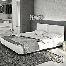 Boxspring-Bettaus Kunstleder weiß mit LED und Lautsprecher 140x200 cm | Rinaza | Modernes Bett mit 4 LED-Leisten und Chromfüßen weiss 140 cm x 200 cm