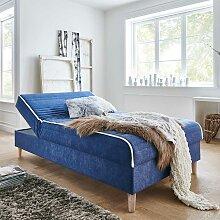 Boxspring Bett in Blau Samt 120x200 cm