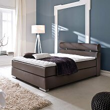 Boxspring Bett in Braun Matratze