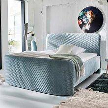 Boxspring Bett in Mintgrün Microfaser 180x200 cm