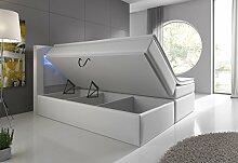 Boxspringbett 140x200 Weiß mit Bettkasten LED