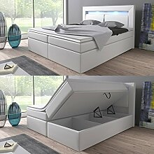 Boxspringbett 160x200 Weiß mit Bettkasten LED