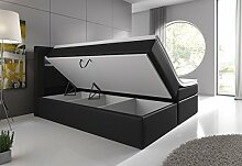 Boxspringbett 180x200 Schwarz mit Bettkasten LED