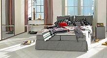 Boxspringbett Cushion, 200x220 cm, grau