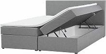 Boxspringbett Grau mit Bettkasten Stoff 180 x 200
