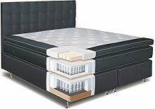 Boxspringbett LINE, Box: Taschenfederkern, Matratze: 5 Zonen Taschenfederkern, Top Matress: Schaumstoff - Abmessung: 180 x 200 cm