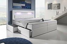 Boxspringbett mit Bettkasten 180x200 Weiß LED