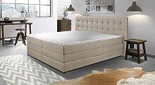 Boxspringbett Portmore, 200x200 cm, weiß