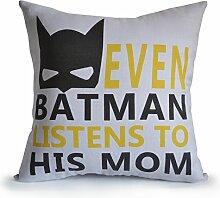 Boy Raum Kissenhülle mit Nachricht auch Batman hört zu seinem Mom Kids Room Decor Kinderzimmer Decor Geburtstag Weihnachten Neues Jahren grau Leinen Couch Kissen, Textil, grau, 35 x 35 cm