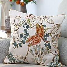 Bozenghoey Orange Baumwolle Jacquard Sofa Kissen, 45 X 45 Cm (Mit Feder Samt Kissen), Libelle (Ab Version Random Blume)