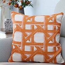 Bozenghoey Orange Baumwolle Jacquard Sofa Kissen, 45 X 45 Cm (Einschließlich 7D Hohe Elastische Baumwolle Core), Orange Geometrie