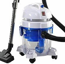 BPS Staubsauger mit Wasserfilter Nass und Trockensauger HEPA 1400 Watt (max. 1600W Weiß und Blau) kann bis zu 8.5 Liter Wasser aufsaugen beutellos Wasserfiltersystem für Allergiker