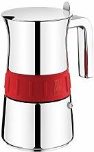 BRA Edelstahl Espressokocher ELEGANCE Rot, für