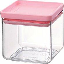 Brabantia 290060 Stapelbare Vorratsdose, rechteckig, 0.7 L, Plastik, tasty colours rosa, 11 x 11 x 10,5cm