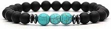 BRACELET Blau Anhänger Trendy Matte Black Lava
