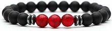 BRACELET Roter Anhänger Trendy Matte Black Lava