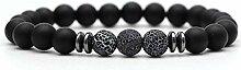 BRACELET Trendy Matte Black Lava Stein Armbänder