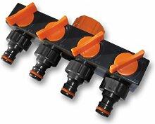 Bradas ECO-PWB3033 4-fach Verteiler für Wasseranschluss, schwarz, 10 x 5 x 5 cm