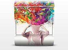 Brain Explosions 39x46x13cm Briefkasten, Standbriefkasten, Briefkästen, Frauen, Kunst, Regenbogen