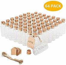 Brajttt 64 x 10 ml Korkverschlüsse Glasflaschen