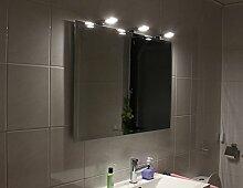 Bran Led Badspiegel Leuchtspiegel Beleuchteter Spiegel Mit Steilfacette 130x70cm 3 Lampen in 5mm Stärke
