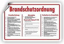 BRANDSCHUTZORDNUNG / Brandverhütung / Alarmplan / Verhalten im Brandfall - SCHILD / D-039 (45x30cm Aufkleber)