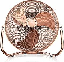 Brandson - Retro Windmaschine / Ventilator   Standventilator 35cm   hoher Luftdurchsatz   Tischventilator / Bodenventilator   im edlen Kupfer-Design