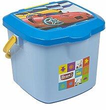 BranQ Eimer 15,5 L Hocker blau Spielzeugbox mit
