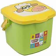 BranQ Eimer 15,5 L Hocker grün Spielzeugbox mit