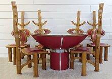 Brasilianischer Vintage Esstisch mit 6 Stühlen