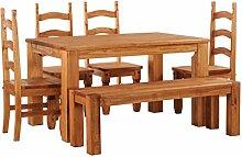 Brasilmöbel Esstisch Rio Classico 140x90 cm + 4 x Stuhl Rio Mexiko + Sitzbank Rio Kanto Farbton Honig