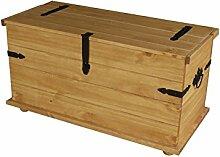 Brasilmoebel® Truhe Rio Compacto 90 x 45 x 45 cm - Pinie Massivholz Brasilmöbel Honig - in vielen verschiedenen Farben - edles Pinienholz - massiv mit Beschlägen - Couchtisch Stauraum Wohnzimmer Esszimmer