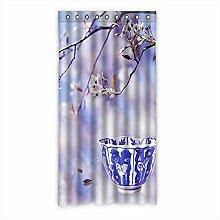 Brauch Blaues und weißes Porzellan Fenster Vorhang Window Curtain Licht Beweis Polyester Fabrik für Schlafzimmer oder Wohnzimmer 127 Zentimeters x 244 Zentimeters (ein Stück)